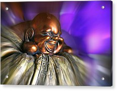 Laughing Buddha Violet Purple Flame Acrylic Print