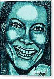 Laughing Girl In Blue 2 Acrylic Print by Richard Heyman