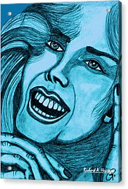 Laughing Girl In Blue Acrylic Print by Richard Heyman