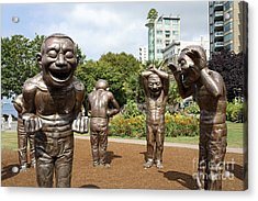 Laughing Men Sculptures Vancouver Canada Acrylic Print by John  Mitchell