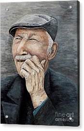 Laughing Old Man Acrylic Print by Judy Kirouac