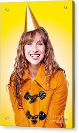 Laughing Winter Party Girl On Yellow Background Acrylic Print