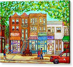Laurier Street Circa 1960 Montreal Memories Vintage Store Fronts Apartments Family Life Canadian Art Acrylic Print by Carole Spandau