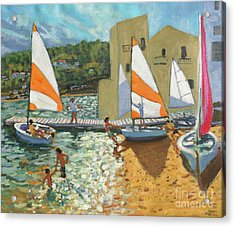 Launching Boats, Calella De Palafrugell, Spain Acrylic Print by Andrew Macara