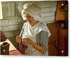 Acrylic Print featuring the photograph Laundress - Mending by Nikolyn McDonald