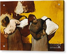 Laundresses Acrylic Print by Edgar Degas