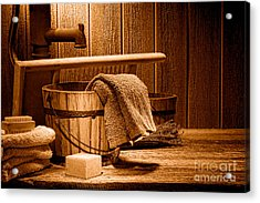 Laundry At The Ranch - Sepia Acrylic Print by Olivier Le Queinec
