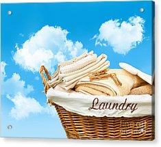 Laundry Basket  Against A Blue Sky Acrylic Print by Sandra Cunningham