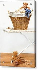 Laundry Basket With Teddy Bears On Floor Acrylic Print by Sandra Cunningham