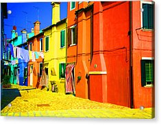 Acrylic Print featuring the photograph Laundry Between Chimneys by Donna Corless