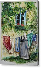Acrylic Print featuring the painting Laundry Day In France by Jan Dappen