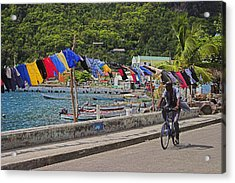 Laundry Drying- St Lucia. Acrylic Print by Chester Williams