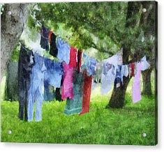 Laundry Line Acrylic Print by Francesa Miller
