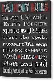 Acrylic Print featuring the digital art Laundry Room Rules Chalkboard Sign by Jaime Friedman