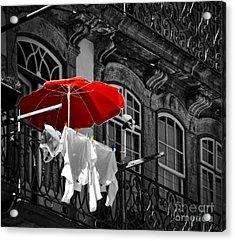 Laundry With Red Umbrella In Porto - Portugal Acrylic Print