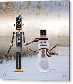 Laurence Builds A Snowman Acrylic Print by Joan Ladendorf