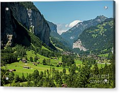 Lauterbrunnen Mountain Valley - Swiss Alps - Switzerland Acrylic Print by Gary Whitton