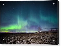 Lava And Light - Aurora Over Iceland Acrylic Print