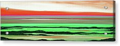 Lava Rock Abstract Panoramic Sunset In Red And Green Acrylic Print