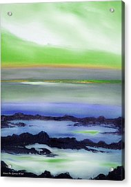Lava Rock Abstract Sunset In Blue And Green Acrylic Print