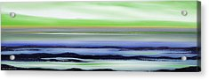 Lava Rock Panoramic Sunset In Green And Blue Acrylic Print