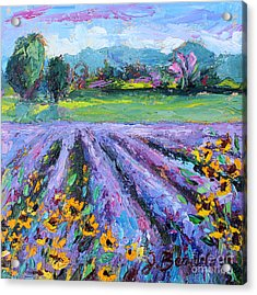 Lavender And Sunflowers In Bloom Acrylic Print by Jennifer Beaudet