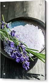 Acrylic Print featuring the photograph Lavender Bath Salts In Dish by Elena Elisseeva