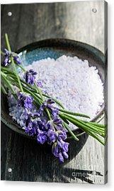 Lavender Bath Salts In Dish Acrylic Print by Elena Elisseeva