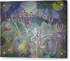Acrylic Print featuring the painting Lavender Fairies by Judith Desrosiers