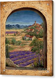 Lavender Fields And Village Of Provence Acrylic Print