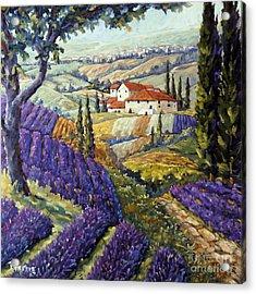 Lavender Fields Tuscan By Prankearts Fine Arts Acrylic Print by Richard T Pranke