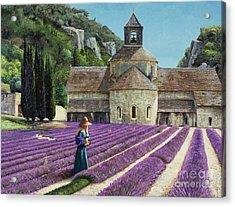 Lavender Picker - Abbaye Senanque - Provence Acrylic Print by Trevor Neal