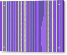 Acrylic Print featuring the digital art Lavender Random Stripe Abstract by Val Arie