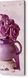 Lavender Roses And Tea Pot Acrylic Print by Sandra Foster