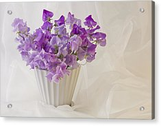 Lavender Sweet Peas And Chiffon Acrylic Print by Sandra Foster