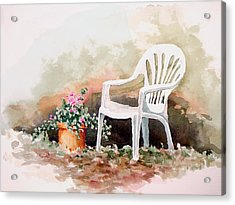 Lawn Chair With Flowers Acrylic Print by Sam Sidders