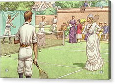 Lawn Tennis Being Played In The Victorian Age Acrylic Print by Pat Nicolle
