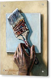 Laying Down The Paint Brush Acrylic Print by John Lautermilch