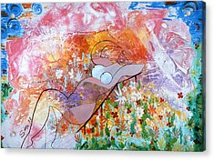 Acrylic Print featuring the painting Laying In The Garden by Sima Amid Wewetzer