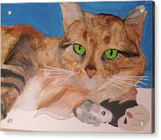 Acrylic Print featuring the painting Laze About by Rebecca Wood