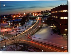 Acrylic Print featuring the photograph Lazer Lights In Bangor by Greg DeBeck