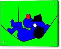 Lazy Blue Dog Acrylic Print by Asbjorn Lonvig