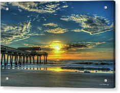 Acrylic Print featuring the photograph Lazy Days Of Summer Sunrise Tybee Island Pier Art by Reid Callaway