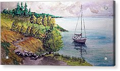 Acrylic Print featuring the painting Lazy Lakeside Day by Jim Phillips