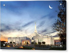Lds Montreal Temple At Twilight Acrylic Print