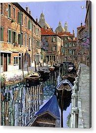 Le Barche Sul Canale Acrylic Print by Guido Borelli