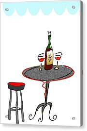 Le Bistrot Acrylic Print by Mimo Krouzian