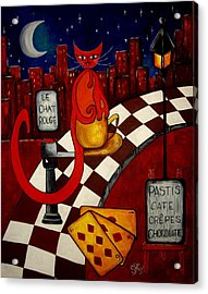 Le Chat Rouge  Acrylic Print by Silvia Regueira