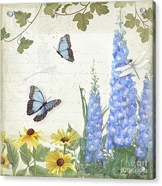 Acrylic Print featuring the painting Le Petit Jardin 1 - Garden Floral W Butterflies, Dragonflies, Daisies And Delphinium by Audrey Jeanne Roberts
