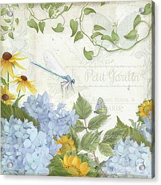 Acrylic Print featuring the painting Le Petit Jardin 2 - Garden Floral W Dragonfly, Butterfly, Daisies And Blue Hydrangeas by Audrey Jeanne Roberts